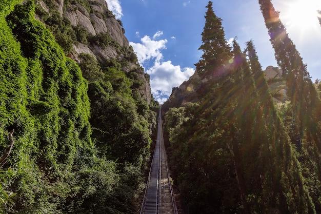 Téléphérique jusqu'au sommet de la montagne jusqu'à la plate-forme d'observation de l'abbaye de santamaria de montserrat.