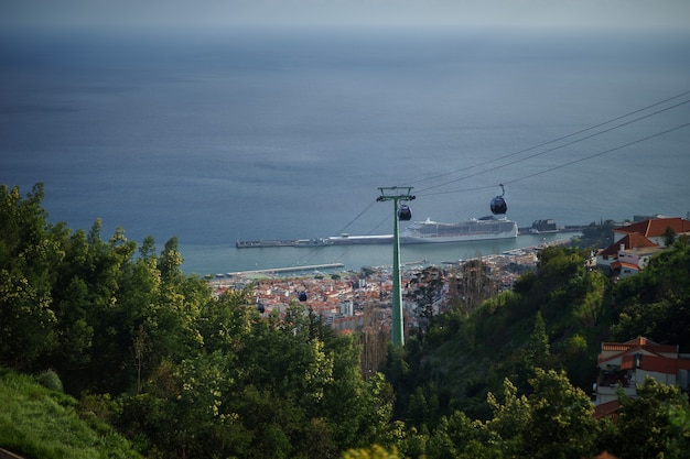 Téléphérique pour monte à funchal, île de madère au portugal.