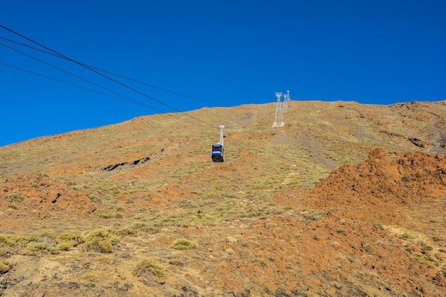Téléphérique sur le volcan teide dans l'île de ténérife - espagne canaries. funiculaire du volcan teide.