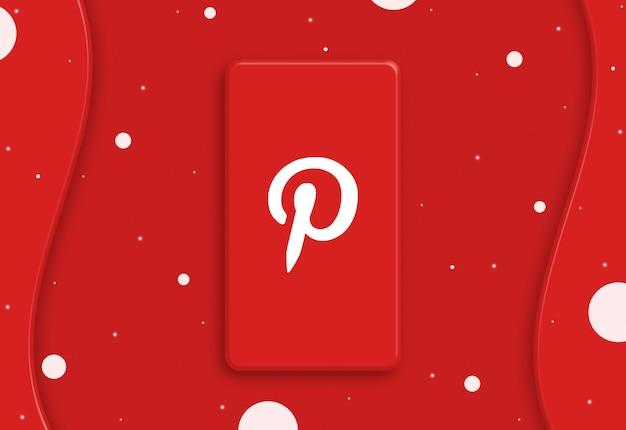 Téléphone abstrait avec l'icône du logo pinterest sur l'écran 3d