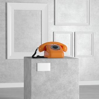 Téléphone à cadran de style vintage orange sur piédestal, scène, podium ou colonne dans une galerie d'art ou un musée sur fond blanc. rendu 3d