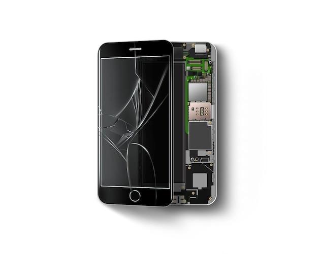 Téléphone cassé à l'intérieur isolé, puce, carte mère, processeur