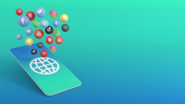Téléphone avec diverses applications pop-up icônes