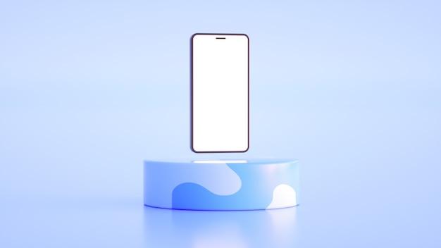 Téléphone avec un écran blanc sur un beau support dans les tons bleus rendu 3d