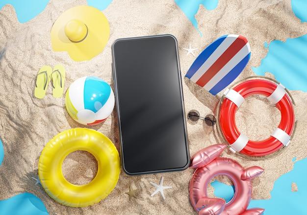 Téléphone entre accessoires de plage d'été rendu 3d