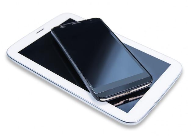 Téléphone grand écran sur blanc