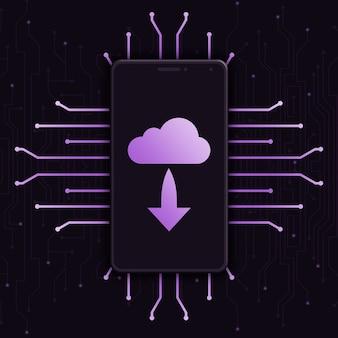Téléphone avec l'icône de téléchargement du nuage sur l'écran sur fond de technologie 3d