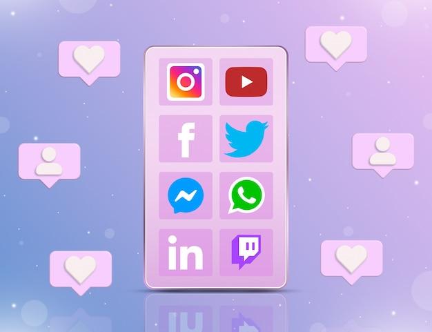 Téléphone avec des icônes de réseaux sociaux à l'écran et avec des icônes de notification autour de la 3d