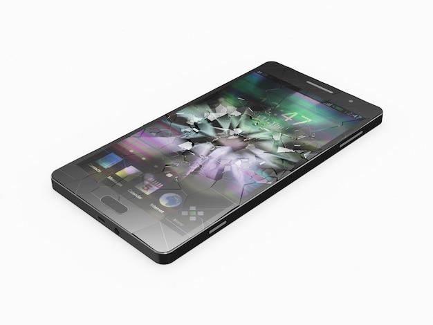 Téléphone intelligent avec écran cassé isolé sur fond blanc