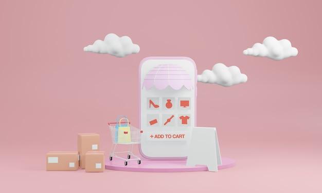 Téléphone intelligent avec écran vide, boîtes et caddie avec des nuages à l'arrière sur fond rose
