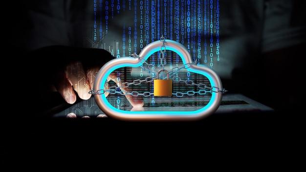 Le téléphone intelligent moblie transfère les données au serveur cloud