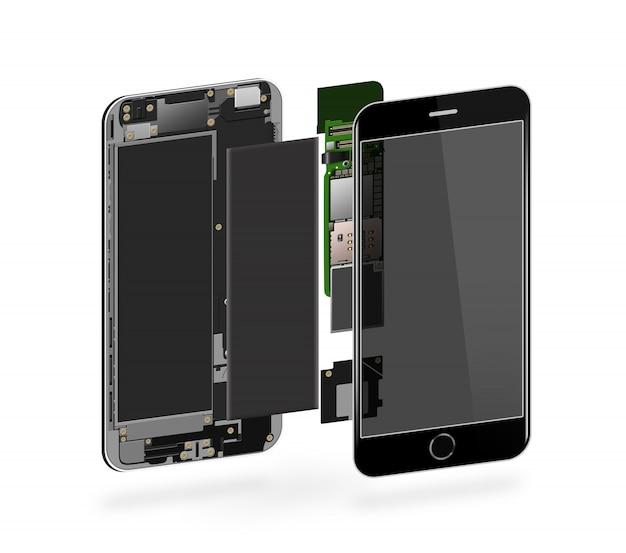 Téléphone à l'intérieur isolé, puce, carte mère, processeur, processeur et détails