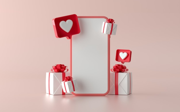 Téléphone de médias sociaux avec illustration de cadeau de noël pour bannière. illustration 3d