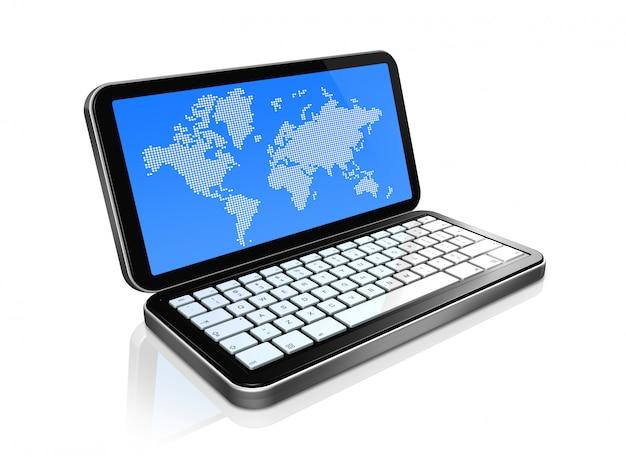 Téléphone mobile 3d, pda isolé sur blanc avec la carte du monde à l'écran