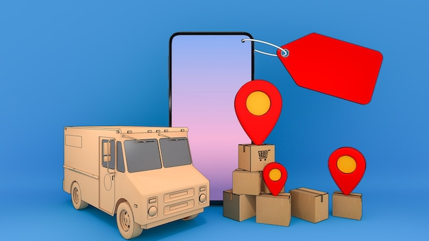 Téléphone mobile et camionnette avec de nombreuses boîtes en papier et pointeurs à épingle rouge, service de transport de commande d'application mobile en ligne et concept d'achat en ligne et de livraison, rendu 3d.