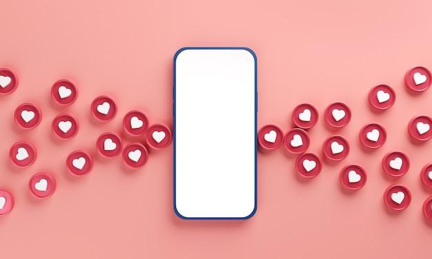 Téléphone mobile avec coeurs, application de date
