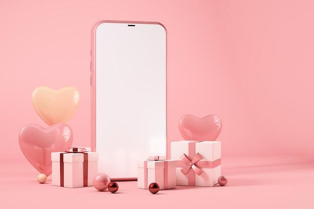 Téléphone mobile avec coffrets cadeaux et coeurs, concept de la saint-valentin