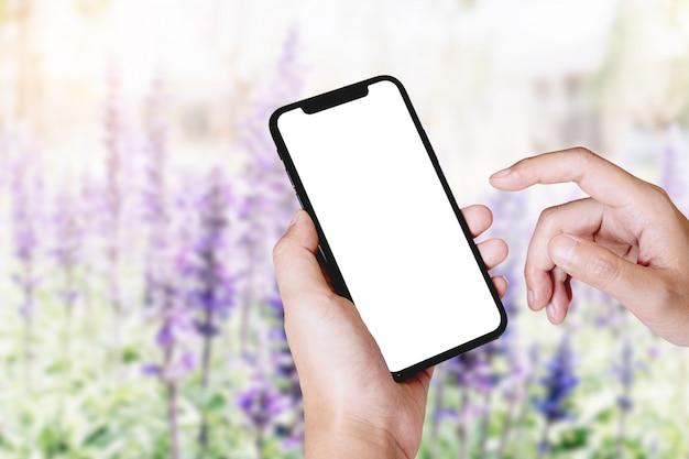 Téléphone mobile à écran blanc pour montage d'écran graphique