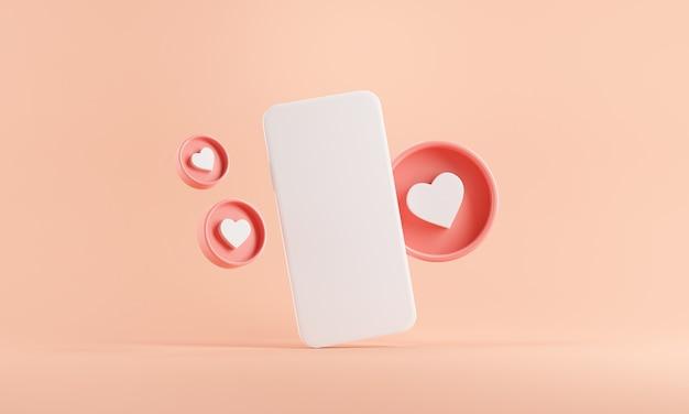 Téléphone mobile avec des icônes de coeurs