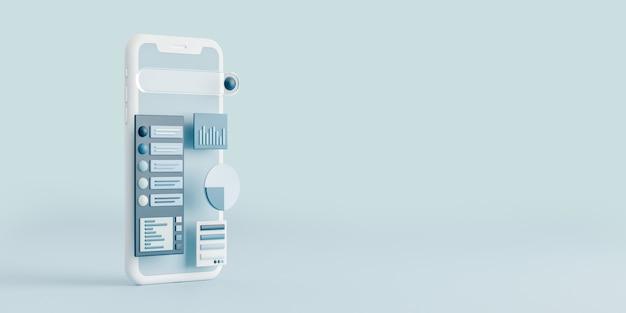 Téléphone mobile réaliste avec tableau de bord.affaires et marketing numérique concept.3d render illustration.