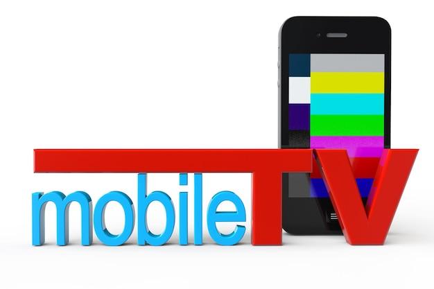 Téléphone mobile avec signe de télévision mobile sur fond blanc
