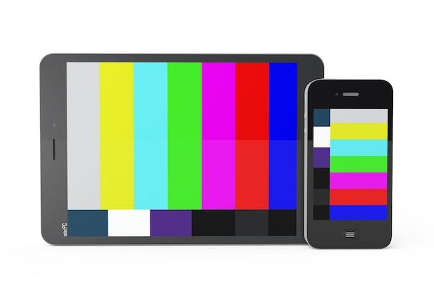 Téléphone mobile et tablet pc comme tv mobile sur fond blanc