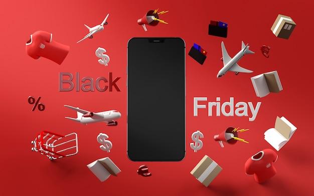 Téléphone moderne pour faire du shopping le vendredi noir