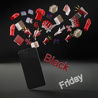Téléphone moderne pour la vente du vendredi noir