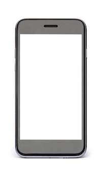 Téléphone noir avec écran blanc blanc isolé sur blanc.