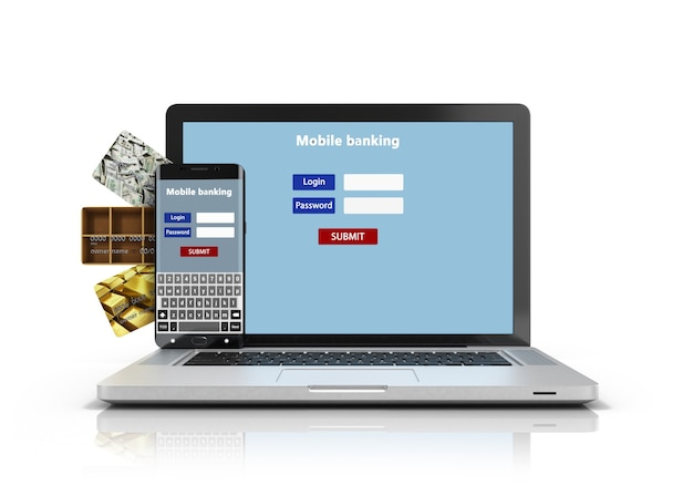 Téléphone et un ordinateur portable avec l'écran d'authentification et les cartes de crédit isolé sur blanc rendu 3d