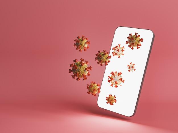 Téléphone portable avec des cellules de coronavirus sortant de son écran illuminé. concept technologique et pass covid. rendu 3d