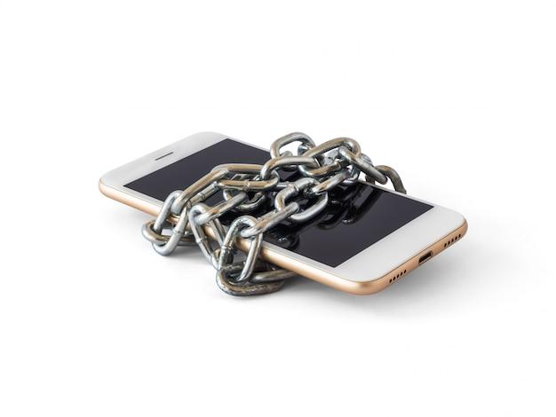 Téléphone portable avec chaîne bloquée