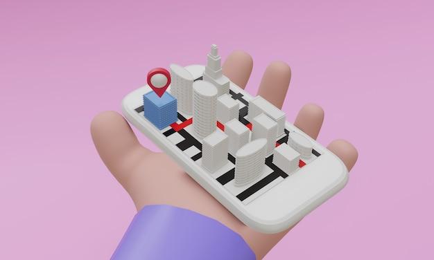 Téléphone portable dans le concept de navigation de main de dessin animé, rendu 3d
