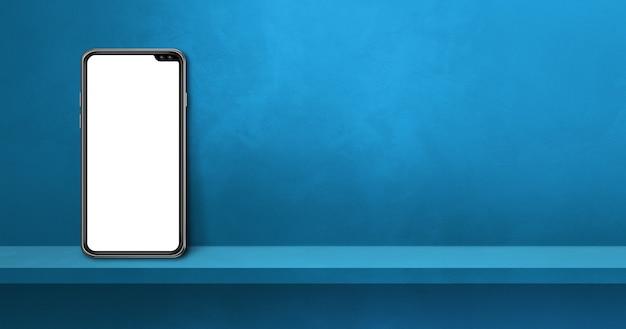 Téléphone portable sur étagère murale bleue. bannière de fond horizontale. illustration 3d