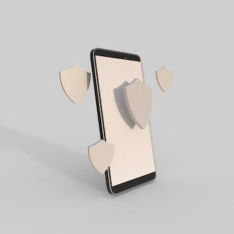 Téléphone portable avec illustration de rendu 3d de l'icône de bouclier