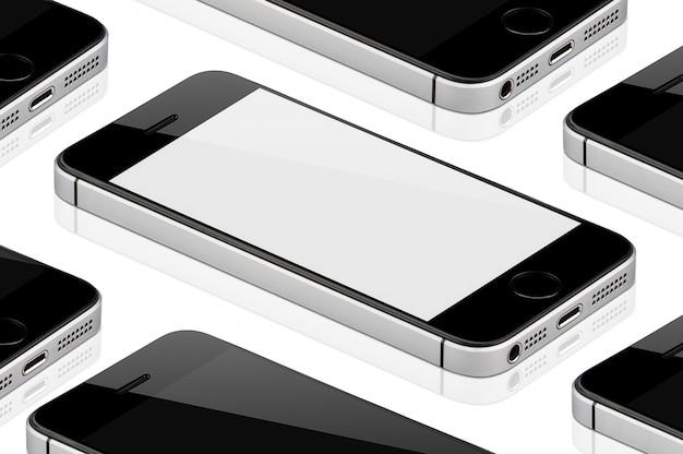 Téléphone portable noir isolé.