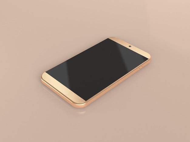 Téléphone portable or, rendu 3d de téléphone intelligent
