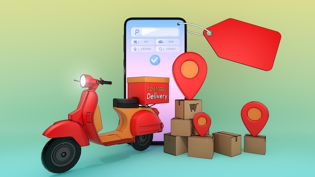Téléphone portable et scooter avec de nombreuses boîtes en papier et pointeurs à épingle rouge., concept de service de livraison rapide et achats en ligne., illustration 3d avec un tracé de détourage d'objet.