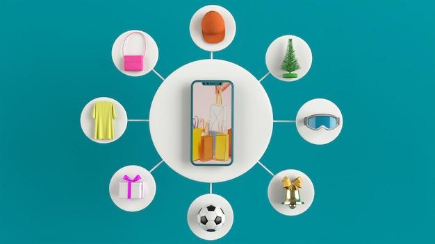 Téléphone pour entrer du contenu entouré de sacs à provisions, des paniers d'achat sur le rendu 3d-mur. - illustration 3d
