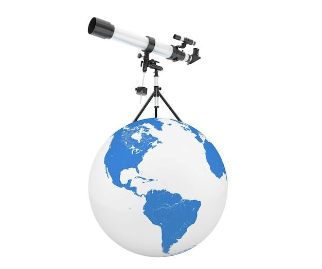 Télescope d'argent sur trépied sur earth globe sur fond blanc