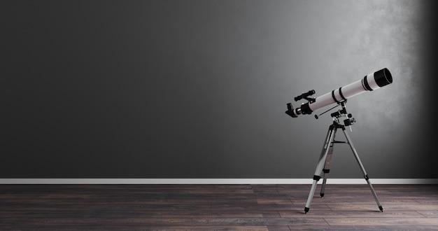 Télescope dans une salle grise vide avec maquette de plancher en bois, rendu 3d