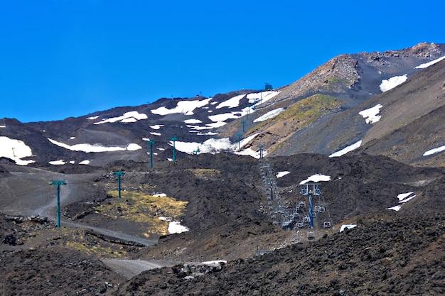 Télésiège pour skieurs sur le volcan etna