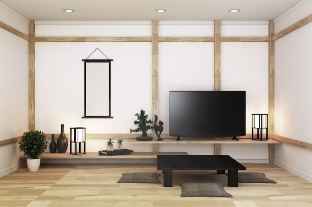 Téléviseur dans une pièce vide blanche moderne et une décoration de style japonais. rendu 3d