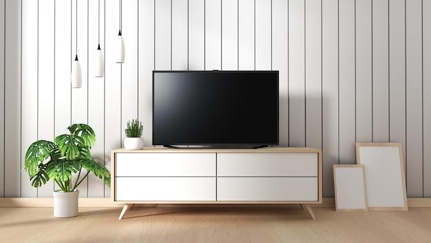 Téléviseur sur meuble de salon moderne avec lampe fames et plante sur fond de mur blanc, 3d