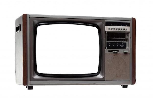 Téléviseur vintage avec écran blanc isolé sur blanc.