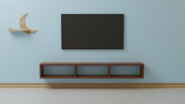 La télévision dans le salon est collée au mur bleu.