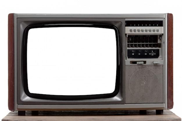 Télévision vintage avec écran découpé sur fond isolé