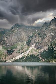 Tempête nuageuse sur le lac morskie oko reflétée dans l'eau
