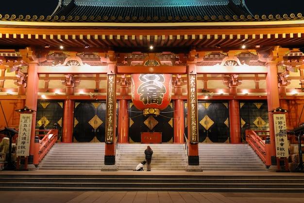 Temple d'asakusa de nuit