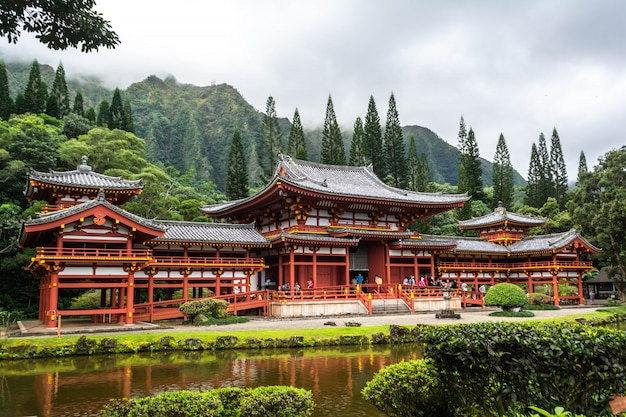 Temple bouddhiste byodo-in, oahu, hawaii